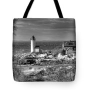 Annisquam Lighthouse Black And White Tote Bag