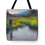 Another Cast - Fishing In Alaskan Stream Tote Bag