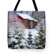 Another Wintry Barn Tote Bag by Joan Carroll