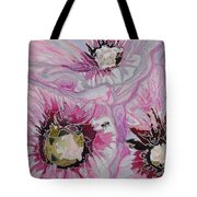 Ant Exploring Hollyhock Tote Bag by Jo Anne Neely Gomez