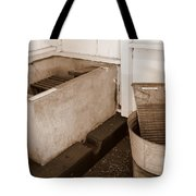 Antiquated Bathtub Washboard And Laundry Tub In Sepia Tote Bag