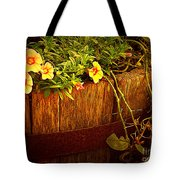 Antique Bucket With Yellow Flowers Tote Bag