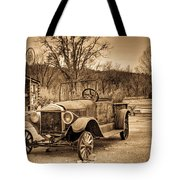 Antique Car At Service Station In Sepia Tote Bag