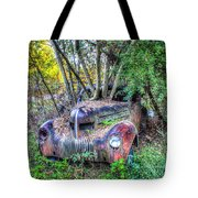 Antique Car With Trees In Windshield Tote Bag