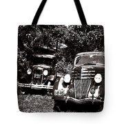 Antique Cars Black And White Tote Bag