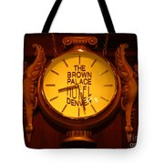 Antique Clock At The Bown Palace Hotel Tote Bag