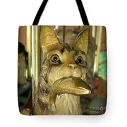 Antique Dentzel Menagerie Carousel Cat With Fish In Rochester New York Tote Bag