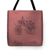 Antique Fire Engine Patent On Red Tote Bag