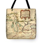 Antique French Map Of The Great Lakes 1755 Tote Bag