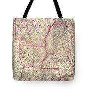 Antique Map Of Arkansas Mississippi And Louisiana Tote Bag