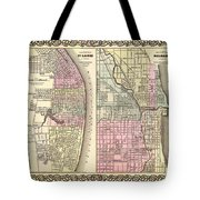 Antique Map Of Chicago And St Louis 1855 Tote Bag