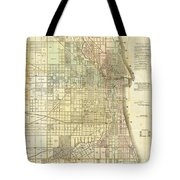 Antique Map Of Chicago Tote Bag