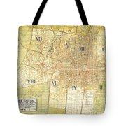 Antique Map Of Del Plano Oficial De La Ciudad De Mexico Tote Bag
