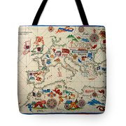 Antique Map Of Europa 1563 Tote Bag