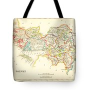 Antique Map Of Galway Ireland Tote Bag