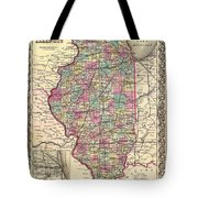 Antique Map Of Illinois 1855 Tote Bag