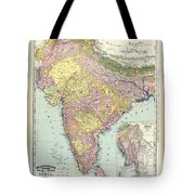 Antique Map Of India - Further India Tote Bag