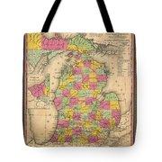 Antique Map Of Michigan 1853 Tote Bag