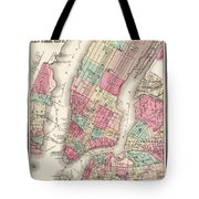 Antique Map Of New York City Tote Bag