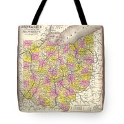 Antique Map Of Ohio 1850 Tote Bag