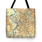 Antique Map Of Rome During Antiquity 1870 Tote Bag