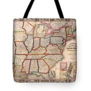Antique Map Of The United States 1848 Tote Bag