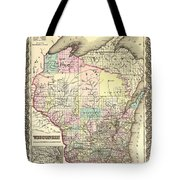 Antique Map Of Wisconsin 1855 Tote Bag
