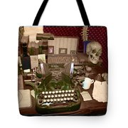 Antique Oliver Typewriter On Old West Physician Desk Tote Bag by Janice Rae Pariza