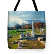 Antique Pillars And Power Plant Megalopoli Greece Tote Bag