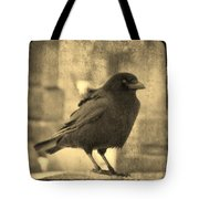 Antique Sepia Crow Tote Bag