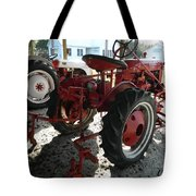 Antique Tractor Hiding In The Shadows Tote Bag