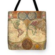 Antique World Map In Hemispheres 1794 Tote Bag