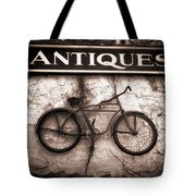 Antiques And The Old Bike Tote Bag by Bob Orsillo