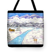 Antlers And Snow Tote Bag