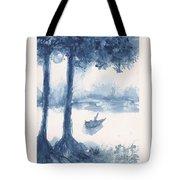 Antwerp Blue Landscape Watercolor Tote Bag