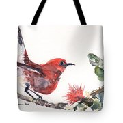 Apapane - Native Hawaiian Bird Tote Bag