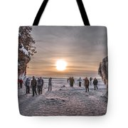 Apostle Islands Ice Cave Sunset Tote Bag