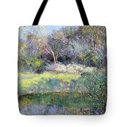 Apple Tree And Crescent Moon Tote Bag