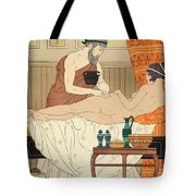 Application Of White Egyptian Perfume To The Hip Tote Bag by Joseph Kuhn-Regnier