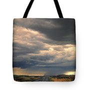 Approaching Storm On Country Road Tote Bag