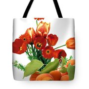 Apricots And Red Roses Tote Bag