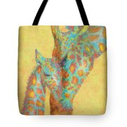 Aqua And Orange Giraffes Tote Bag