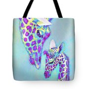 Aqua And Purple Loving Giraffes Tote Bag