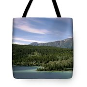 Aqua Green Mountain Lake Tote Bag