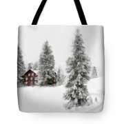 Aquarell - Beautiful Winter Landscape With Trees And House Tote Bag