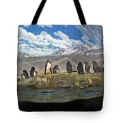 Aquarium Penguins Line Dance Tote Bag