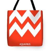 Aquarius Zodiac Sign White On Orange Tote Bag