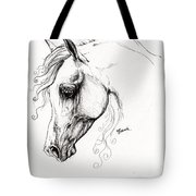 Arabian Horse Drawing 15 Tote Bag by Angel  Tarantella