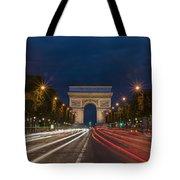 Arch De Triomphe And Avenue Des Champs Elysees Paris France Tote Bag