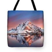 Arctic Dawn Over Reine Village Tote Bag